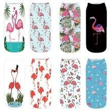 Flamingo 3D Digital Printing Socks Short Cylinder Female Cotton