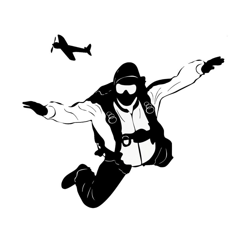 17.5*15CM Personalized Skydiving Extreme Sports Car Stickers Vinyl Decals Covering The Body Black/Silver C7-0702