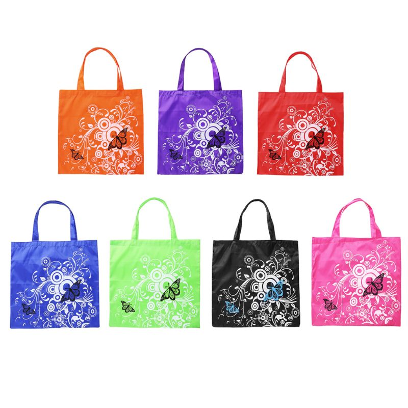 Folding Oxford Cloth Fashion Butterfly Picture Floral Reusable Shopping Bag Travel Pocket Grocery Bags