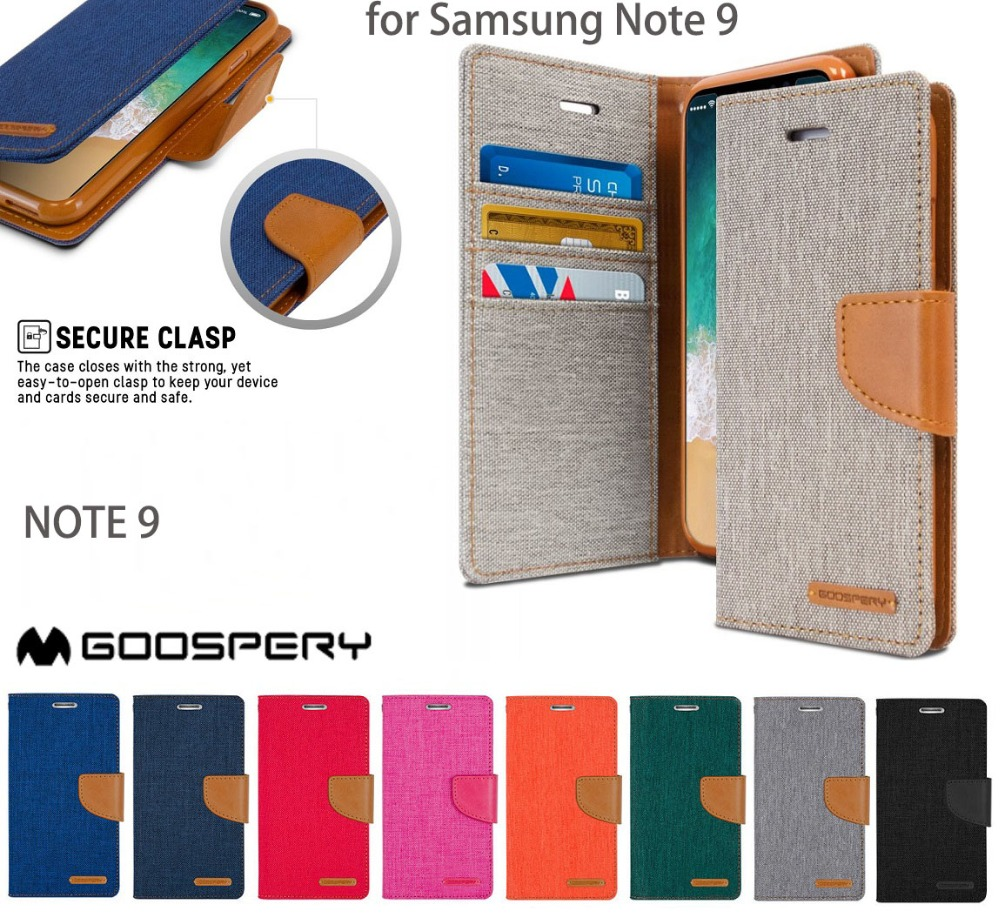 New Original Goospery Canvas Diary Cloth Skin Wallet Flip Cases For Samsung Galaxy S6 Case Navy Mercury Cover Note 9