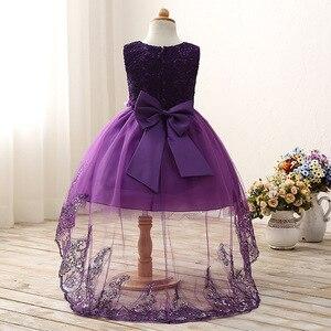 Image 2 - 2017 High quality princess dress girls wedding graduation gown purple children flower dress vestido de festa infantil menina