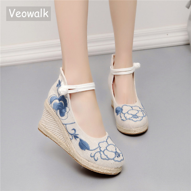 Veowalk Handmade Women's Casual Linen Canvas Embroidered Espadrilles Wedge Platforms Ladies Med Heel Cotton Embroidery Shoes denim embroidered wedge shoes