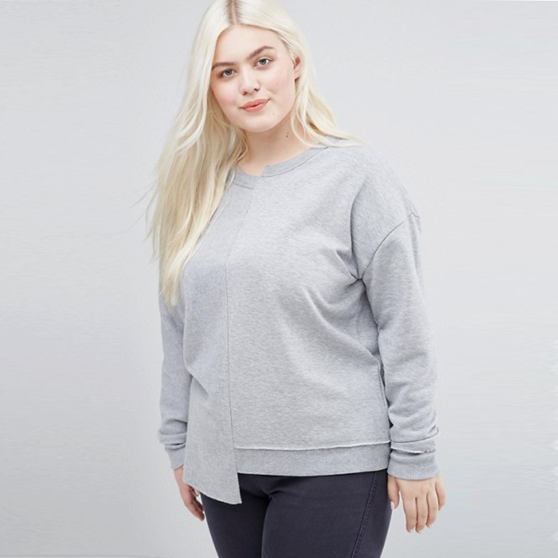 Casual Plus Size Grey Sweatshirt Basic Asymmetrical Women Sweat Top Fashion  Ultimate Easy Oversize Patchwork Pullover 5XL 6XL 24ddb4ad32ee
