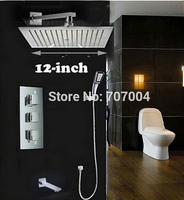 Thermostatic Mixer Rain Shower Mixer Taps With Handheld 12 Inch Ultrathin Showerhead Tub Shower Faucet