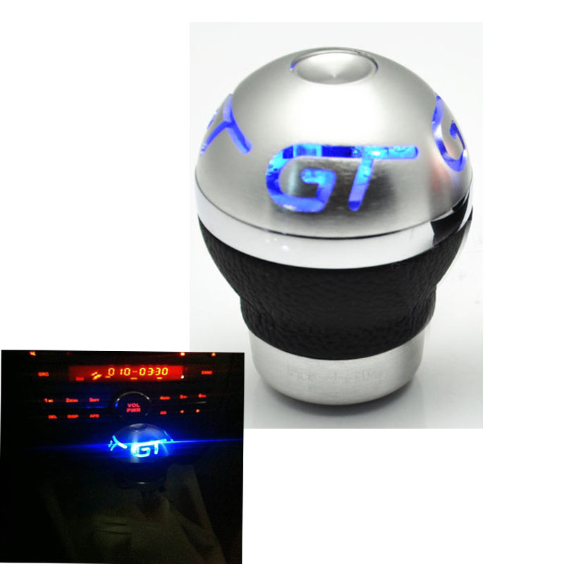 Universal Aluminum Car Gear Shift Knob Shifter Lever Cool Blue Printed Red Light Gear Shift Knob