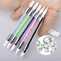 1pc Nail Art Carving Sculpture Painting Brush Pen 2-Ways Silicone Hollow Engraving Nail Art Manicure Tool