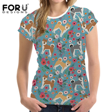 FORUDESIGNS Women Akita Flower Printing T Shirt Female Fashion T-shirt Cartoon Pattern Kawaii Tee for Ladies Fitness Cloth