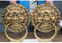 12 Chinese Brass Dog Guardion Lion Head Door knocker Gate Pair Crafts Home Furnishing Arts pure copper