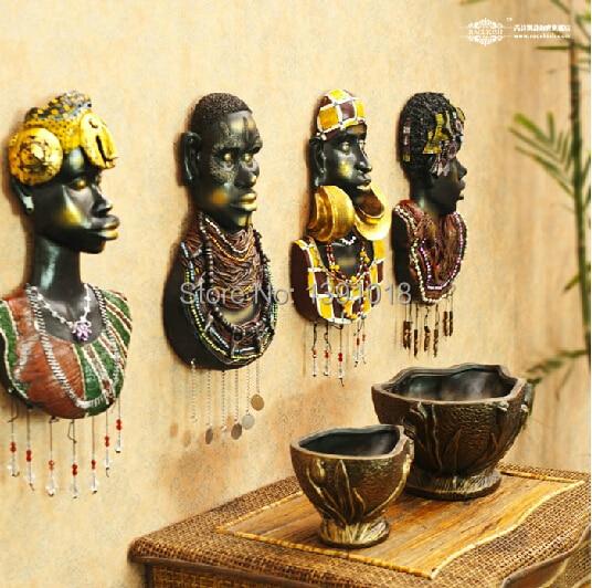 Creative African resin figure hang wall decor Sitting room home ...