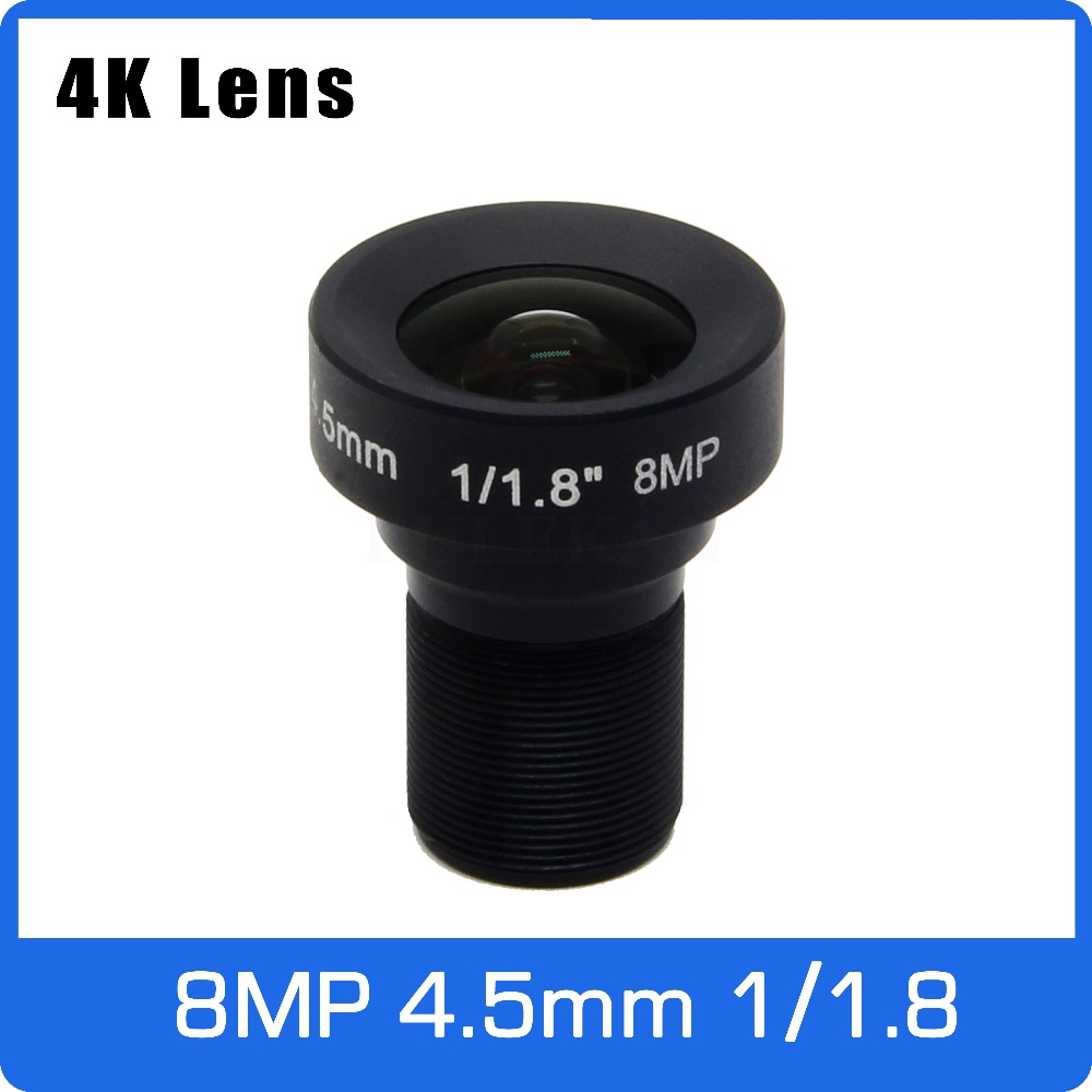 4K Lens 8Megapixel Fixed M12 Lens 4.5mm 105 Degree 1/1.8 inch For OS08A10/IMX226 IMX178 4K IP CCTV Camera Free Shipping 4k lens 8megapixel fixed m12 small lens 1 2 5 inch 4mm 100 degree for sony imx274 imx317 imx179 4k ip cctv camera free shipping