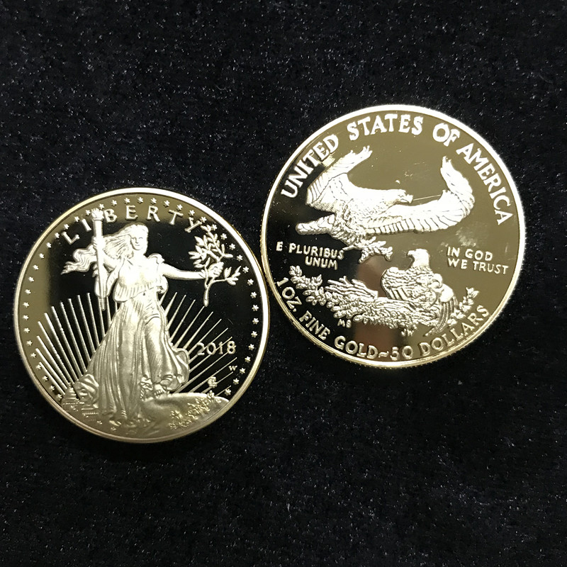 100 pcs non magnetic The newest 2018 freedom USA coins 24K real gold plated badge 32 6 mm souvenir home decoration American coin in Non currency Coins from Home Garden