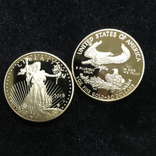 100 pcs non magnetic The newest 2018 freedom USA coins 24K real gold plated badge 32.6 mm souvenir home decoration American coin the newest 100
