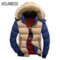 Aolamegs Winter Jacket Men Fashion Contrast Color  Fur Hooded Winter Coat 2016 Cotton-padded Outerwear Manteau Homme Hiver M-4XL