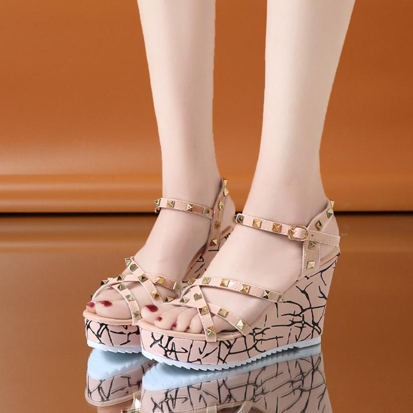 Summer Lady Fashion Wedge High Heels Sandals Elegant Rivets Women Heels Fashion Platform High Heels Wedge Sandals Female Shoes 24