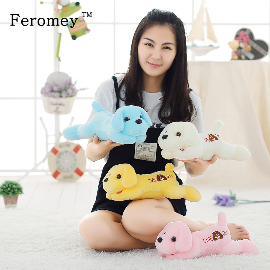 Cute Teddy Dog Plush Doll Toys with Colorful LED Light Kawaii Puppy Luminous Plush Toy Glow in Dark Children Kids Toys 35cm недорого