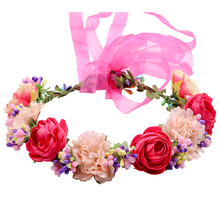 Handmade Wildflower withe ribbon Headband flower crown for bridesmaid Garland Floral Crown  bride headband hair Accessories