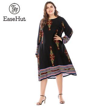 EaseHut Vintage Plus Size Shift Dress Women 4XL 5XL 6XL Vintage Boho Print Long Sleeve Autumn Dress Loose Swing Casual Dresses