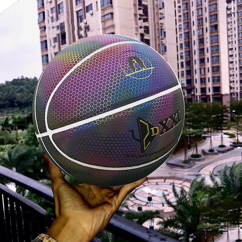 Arc-en-ciel Basketball pour hommes lumineux coloré intérieur/extérieur jeu balle WHShopping