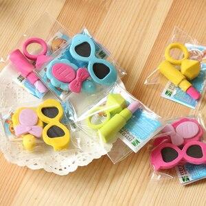 Image 5 - 48 zak/partij Creatieve Dames Ring, lippenstift, zonnebril, gum/cartoon eraser/student briefpapier/kinderen gift