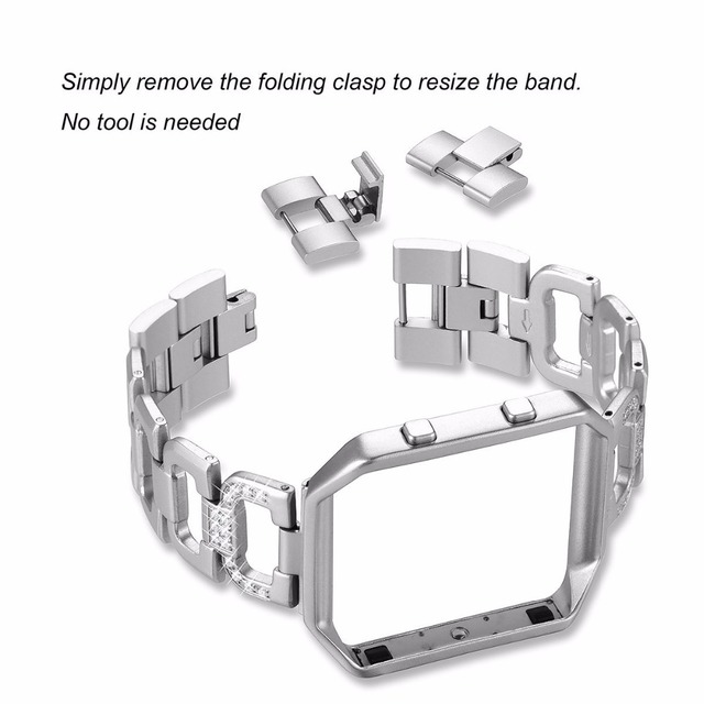 replacement metal stainless rhinestone steel band for fitbit adjustable bands strap product ionic alloy bracelet bling