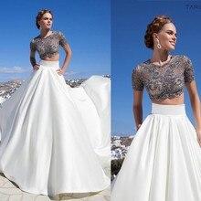 цены на Tarik Ediz Evening Dress 2015 New Spring Short Sleeve Long Gown Two Piece Formal Dress robe de soiree  в интернет-магазинах
