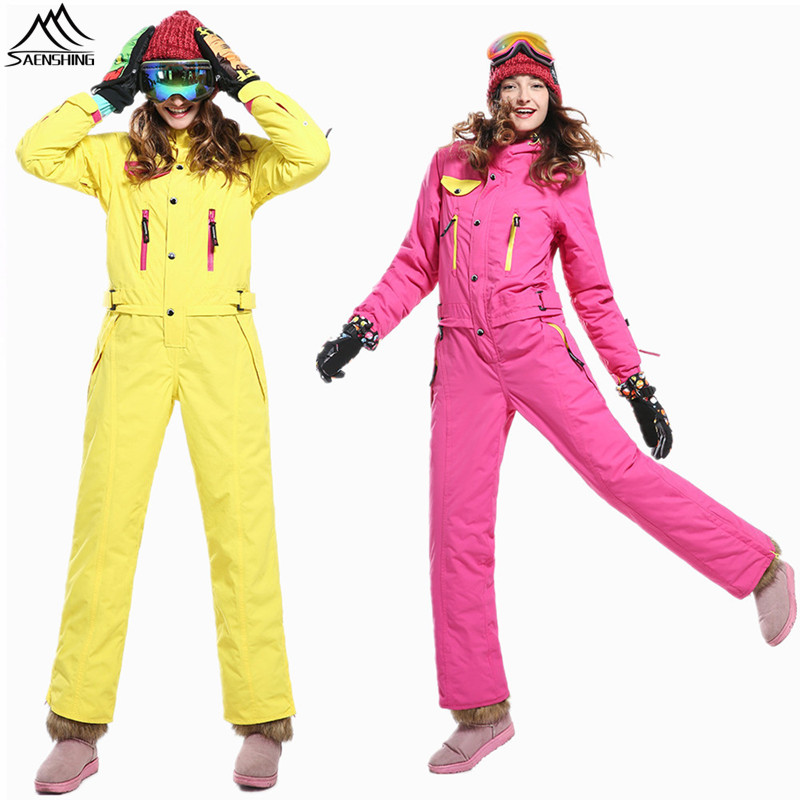 SAENSHING Ski Suit for Women Waterproof Outdoor Ski Suits Super Warm Mountain Skiing Suit for Women Snowboard Snow Suits XS-L недорого