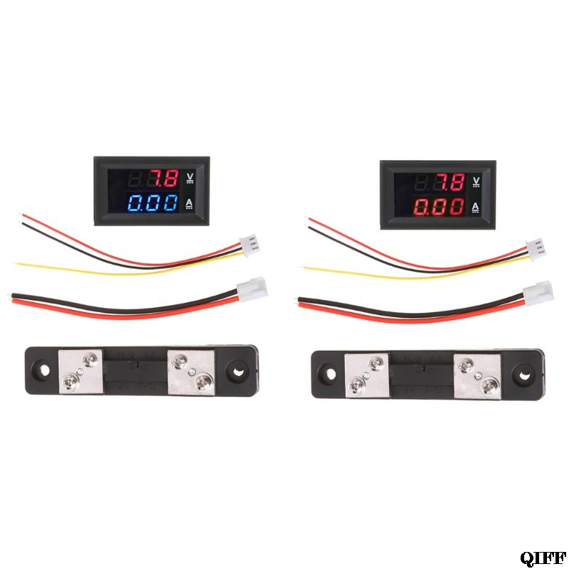 <font><b>DC</b></font> 0-<font><b>100V</b></font>/<font><b>50A</b></font> Red Blue <font><b>Digital</b></font> Voltmeter Ammeter <font><b>LED</b></font> <font><b>Dual</b></font> Display Voltage Current Indicator Monitor Detector Jun17 image