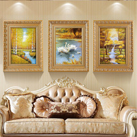 EECAMAIL Triptych Diamond Painting Full drill New European style Living Room Scenery Swan Lake Water Wealth Diamond Embroidered