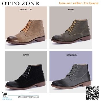 Rubbed Waxing Leather Cow Suede Martens Ankle Boots Mens Low Heel Hombre Martin Boost Vintage Sewing Britain Botas Casual Shoes suede