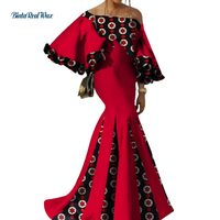 2018 Bazin Riche African Women Clothing Sexy Patchwork Flower Sleeve Long Dresses Party Vestidos African Print Dresses WY3441