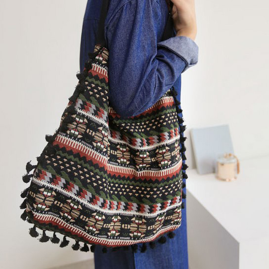 YILE Vintage Fabric Unique Tassel Shoulder Bag Shopping Tote Ethnic Style 705a ...