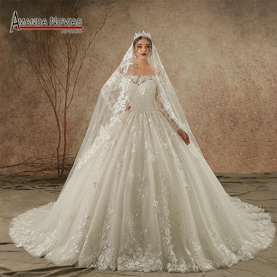 Luxury New Model 2019 Off Shoulder Long Sleeve vestido de noiva Wedding Dress NS3442 veil not