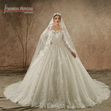 Buy lace long sleeve off shoulder wedding gown and get free shipping ... 2f27469a28c7
