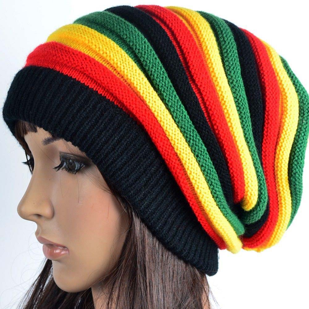 Rainbow Striped Hats for Women Men Unisex Colorful Stripes Cap Jamaica Warm Soft Cotton Blended Knitted Hat   Beanie   Balaclava