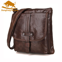 DongFang Miracle Genuine Leather Men small Bag Casual Mens Messenger Bag Vintage Men's Crossbody Bag bolsas male