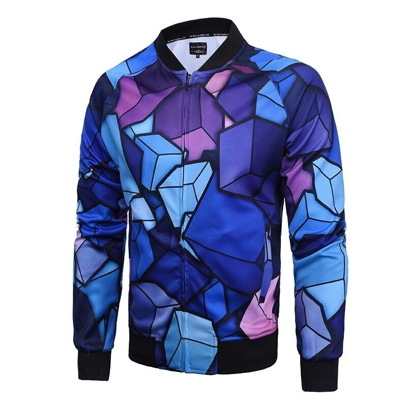 2018 printemps nouveau hommes 3D Cube imprimer vestes hommes veste hommes manteau mâle masculino jaqueta masculina inverno hommes 3D veste de Baseball