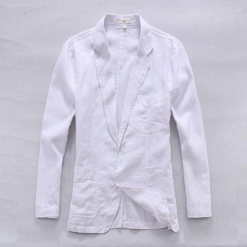 Italy Model White Jacket Males Spring Lengthy Sleeve Linen Males Jacket Pure Flax Style Clothes Jackets Males Informal Jaqueta Masculina