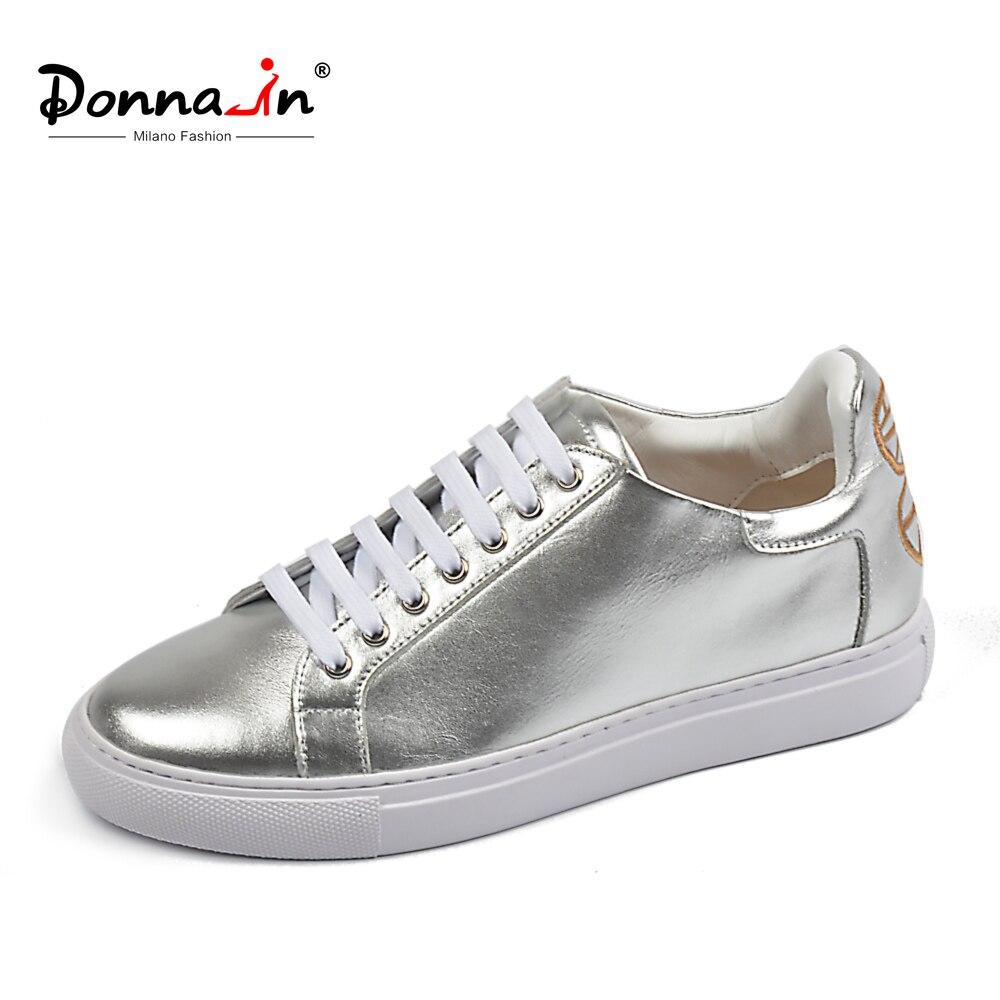 Donna-en Appartements Chaussures Femmes Sneakers Blanc Argent Véritable En Cuir Bas Talons Lacent Bout Rond Casual Haute Qualité dames Chaussures
