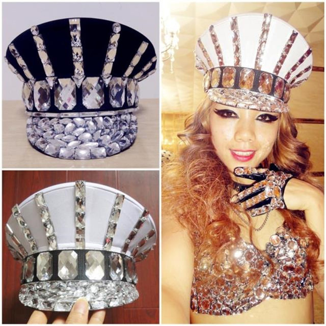 Ds Costume Bling Baby Hats Sparkling Diamond Police Cap Rhinestone Black White Military Hat Roupa Feminina Beyonce Dance Costume