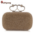 New Luxury Women's Handbag Full Diamond Double Heart-shaped Hasp Clutch Party Evening Bag Wedding Small Clutch Purse Crossbody