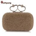 New Luxury Women's Handbag Full Diamond Double Heart-shaped Hasp Clutch Party Evening Bag Wedding Small Clutch Purse Crossbody