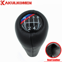 5 Speed 6 Speed Real Leather Gear Shift Knob Handle Knob With 3 Color Lines For