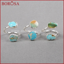 BOROSA 5/10PCS Vintage 100% Natural Blue Stone Ring, Silver Color Natural Turquoises Rings Adjustable Rings Druzy Jewelry S0183