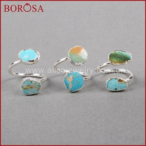 Image 1 - BOROSA 5/10PCS Vintage 100% טבעי כחול אבן טבעת, כסף צבע טבעי טורקיז טבעות מתכוונן טבעות Druzy תכשיטי S0183
