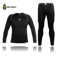 WOLFBIKE Men Thermal Fleece Cycling Base Layer Compression Cycling Underwear Bike Long Sleeve Shirts Winter Sport Running Tights