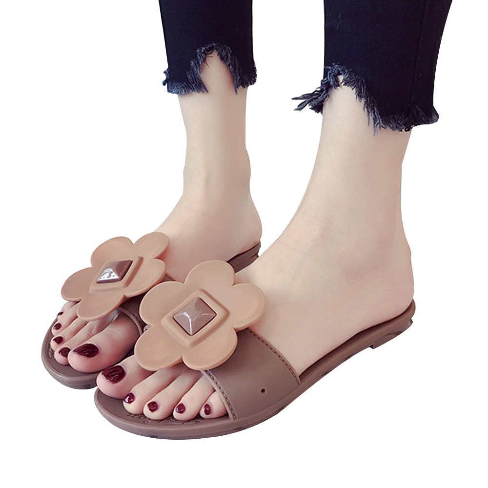 Fashion Outdoor Women Slippers Solid Flower Round Toe Leisure Beach Flat Slippers Female Ladies Footwear Summer Women Shoes fashion loafers women flat platform shoes moccasins air mesh round toe ladies footwear women summer casual shoes female dc64