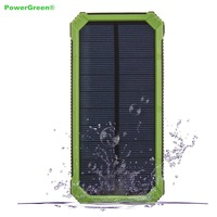 PowerGreen Monocrystalline Solar Cell Charger 15000mAh Dual Output Solar Power Bank with Carabiner Design for IPhone