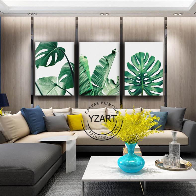 Nordic Style Canvas Painting Poster Green Leaf Monstera Deliciosa Tropical Leaves Wall Art Room With Free Shipping Worldwide Weposters Com Monstera leaves are trending these days! nordic style canvas painting poster