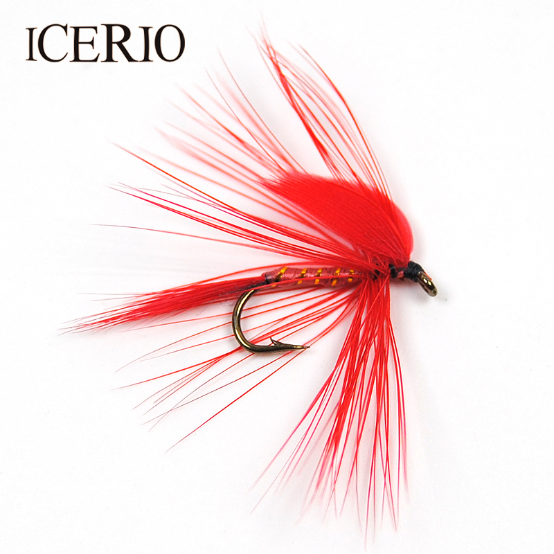 Icerio 6pcs red wing ibis may fly for trout fishing dry for Red wing fishing report
