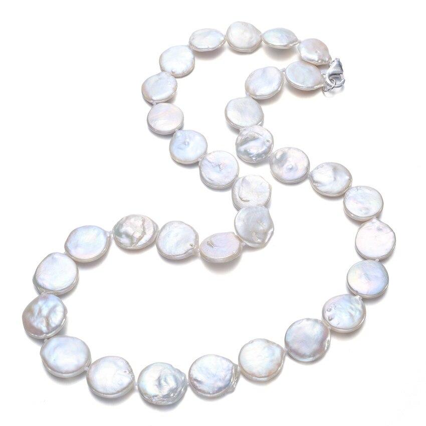 15-16mm AA + pièce 45 cm long 925 collier de perles naturelles en argent sterling femmes bijoux de perles d'eau douce blanc Choker